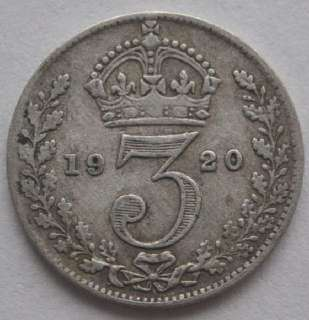 1920 UK Great Britain 3 Pence Silver Coin VF