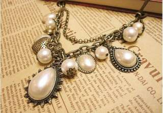 Royal Pearl Bead Heart Drop Pendant Retro Necklace Chain
