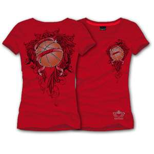KATYDID SHIRT Peace, Love, Basketball Rhinestone Tee RED X Large XL
