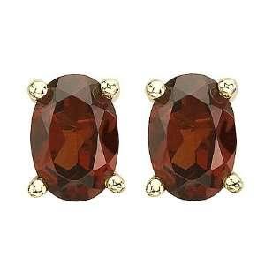 Firey Red Garnet Oval Stud Earrings Set in 14k Yellow Gold