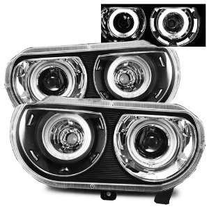 08 10 Dodge Challenger Black CCFL Dual Halo Projector Headlights (HID