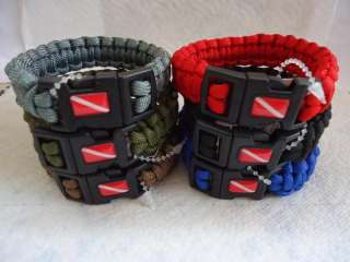 Scuba Dive Flag Paracord 550 Survival Military Bracelet Wristband Band