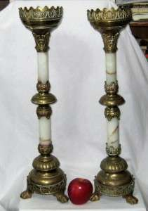 ANTIQUE ORNATE BRASS & MARBLE 25 CHURCH ALTAR CANDLE HOLDERS