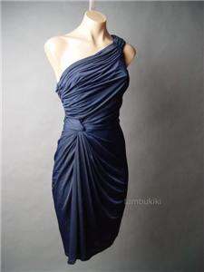 MIDNIGHT Blue Gathered Drape Evening Party fp Dress S