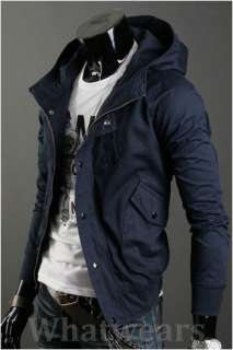 Mens Casual Zip Slim Coat Jacket Hoodie Navy Blue Z00