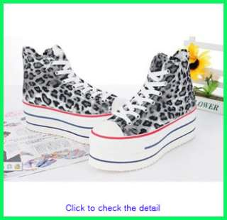Women Canvas Wedge High Heels High Top Sneakers Boots Shoes Black US 7