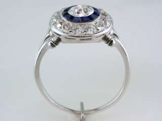 Vintage Antique Art Deco 1.42ct Diamond Sapphire 18K White Gold