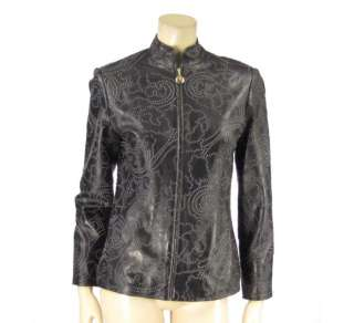 NWT $875 St John Sport Leather Textured Jacket Coat P
