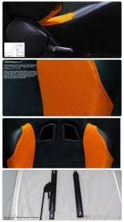 JDM Turino Style Black/Orange Sport Racing Bucket Seats With Sliders
