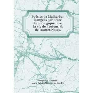Poésies de Malherbe, Rangées par ordre