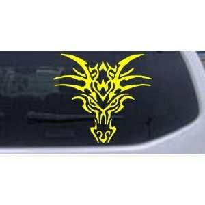 Yellow 26in X 23.6in    Tribal Dragon Car Window Wall Laptop Decal
