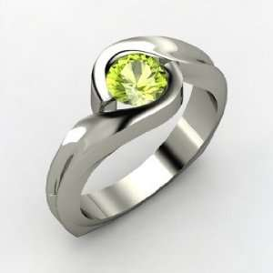 Caress Ring, Round Peridot 14K White Gold Ring Jewelry