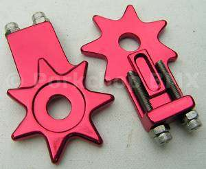 Old school BMX star chain tensioners 3/8 RED ANODIZED