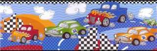 FAST FUN HOT ROD RACE CARS Boys Room Decor WALL BORDER