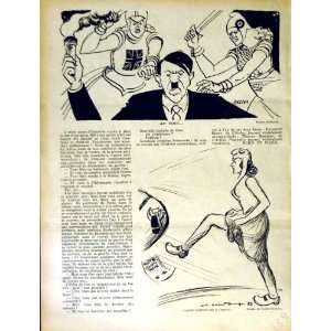 LE RIRE FRENCH HUMOR MAGAZINE WAR HITLER LADY KICKING