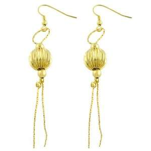 14 Kt Gold Plated Oriental Balls Fish Hook Earrings
