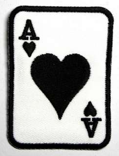 BLACK HEART CARD GAMBLE IRON ON PATCH EMBROIDERED I117