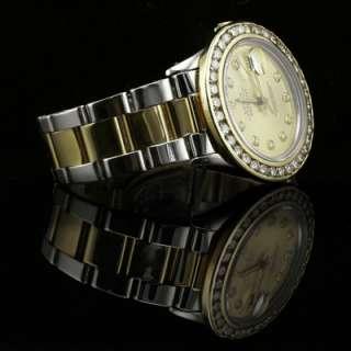 Mens Rolex Oyster Perpetual Date 18K/SS Dia Bezel
