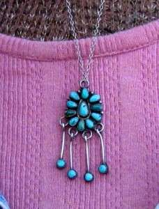 OLD ZUNI INDIAN STERLING SILVER TURQUOISE PENDANT NECKLACE WESTERN