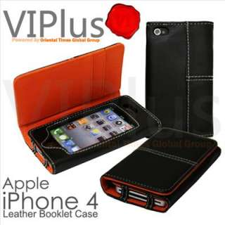 Leather Booklet Case Pouch Skin Cover Wallet Holster Apple iPhone 4 4S
