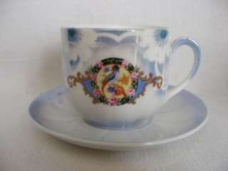 Vtg.German China Cup & Saucer Bird Roses Blue Pink Gold