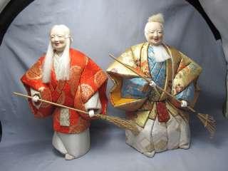 Japanese vintage doll#TAKASAGO NINGYO KIMEKOMI Husband & Wife NOH Mask
