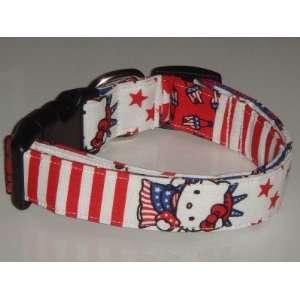 Hello Kitty Patriotic 4th of July Dog Collar Medium 1