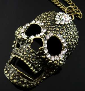 WN213 Total Length 28.35 inches Skull Crystal Necklace Copper Tone