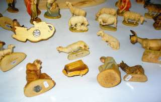 28 PC VINTAGE ANRI KUOLT HAND CARVED WOOD ITALIAN NATIVITY SET WITH