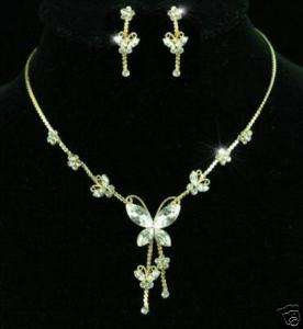 Butterfly Crystal Gold Plat Necklace Earrings Set S1140