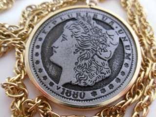 Vintage U.S. Mint 1880 Morgan Dollar Repro. Coin Pendant Necklace