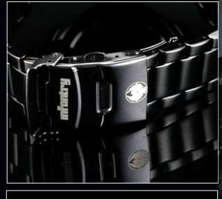 New Fashion Black Style Stainless Steel Mens Wrist Sports Quartz Watch