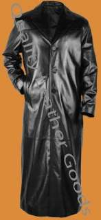 Pure Leather Matrix Style Trench Coat (M1) Gothic Blade Metal Punk