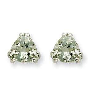 14k Goldw 7mm Trillion Green Amethyst Earring Jewelry