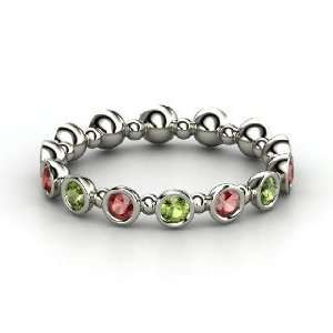 Seed & Pod Eternity Band, 14K White Gold Ring with Green