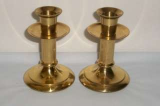 Hallmark Cards Ribbed Column Brass Candle Holders