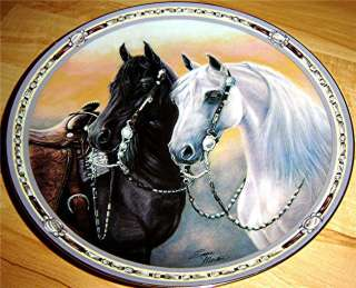 On The Range Standing Watch Susie Morton The Danbury Mint Horse Plate