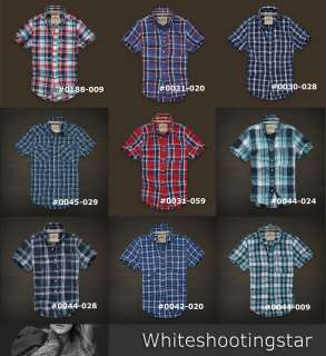 NWT HCO Hollister Mens BEACH PLAID /Checker Casual SHIRT SIZE S, M, L