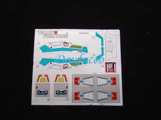 G1 Headmasters Highbrow Stickers Decal FOR MISB