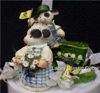 MARY MOO John DEERE Tractor Wedding Cake Topper top Country Western