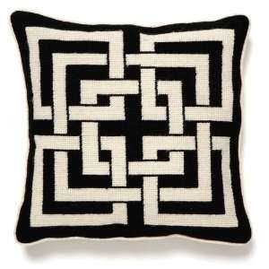 Trina Turk Black Shanghai Links Needle Point Pillow