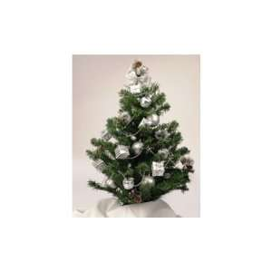 Simply Home 2 1/2 ft. Decorated Christmas Tree   Silver with mirror