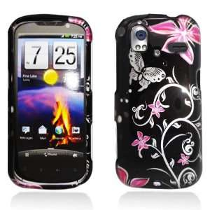 Pink Flowers & Butterfly 2D Faceplate Hard Plastic