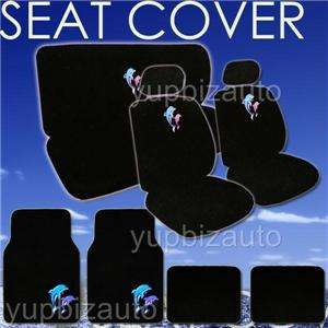 NEW 15PC UNIVERSAL CAR SEAT COVERS MAT STEERING DOLPHIN