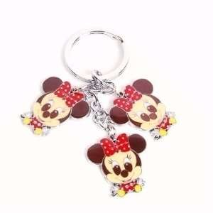 Minnie Mouse Metal Keychain Key Ring Chain Charm