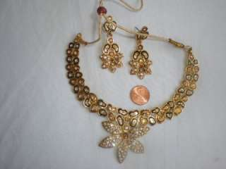 bollywood bridal kundan Meena Enamel necklace earrings USA SELLER FREE