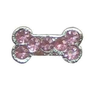 HRH Pets HRCZ28 Pink Dog Bone   Cubic Zirconia Pet Charm