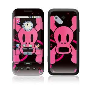 HTC Dream, T Mobile G1 Decal Skin   Pink Screaming Crossbones