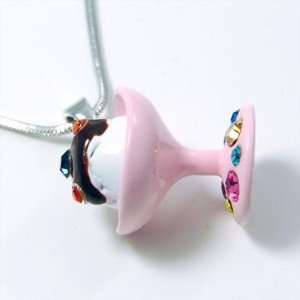 Pink Crystal Sundae Ice Cream Pendant Necklace Everything