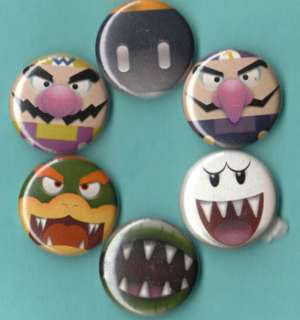 Super Mario Bros Villains Set of 6 Buttons Pins Badges